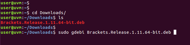 Install brackets with gdebi command.