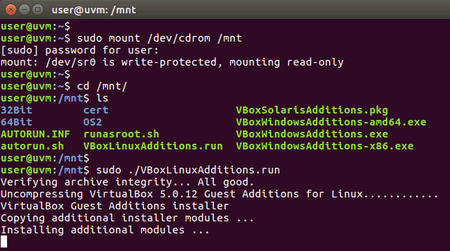 Run the Linux guest additions installer
